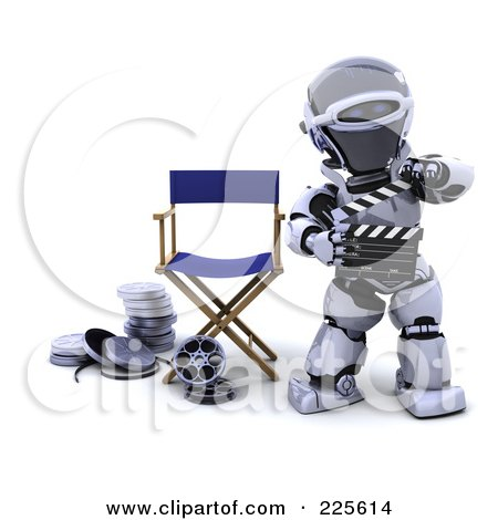 Royalty-Free (RF) Clipart Illustration of a 3d Robot Holding A Clapperboard And Standing By Film Reels And A Directors Chair by KJ Pargeter