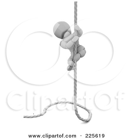 Royalty-Free (RF) Clipart Illustration of a 3d White Character Climbing A Rope by KJ Pargeter