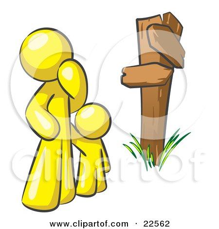 Clipart Illustration of an Uncertain Yellow Man And Child Standing At A Wooden Post, Trying To Decide Which Direction To Go At A Crossroads by Leo Blanchette