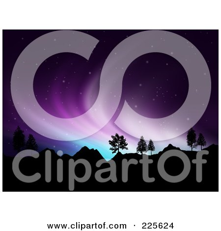 Royalty-Free (RF) Clipart Illustration of a Background Of Blue And Purple Northern Lights Over Mountains In A Starry Night Sky by KJ Pargeter