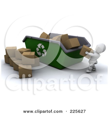 Royalty-Free (RF) Clipart Illustration of a 3d White Character Tossing Cardboard Boxes Into A Giant Recycle Bin by KJ Pargeter