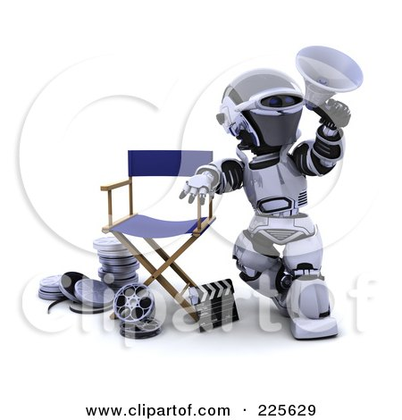 Royalty-Free (RF) Clipart Illustration of a 3d Robot Leaning On A Directors Chair Over Film Reels And A Clapper Board, Announcing With A Megaphone by KJ Pargeter