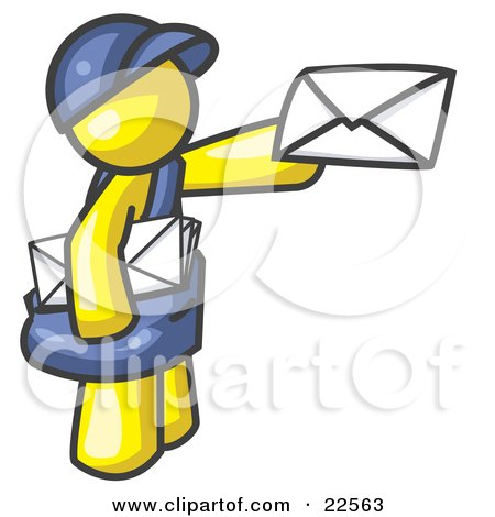 Clipart Illustration of a Yellow Mail Man Delivering a Letter by Leo Blanchette