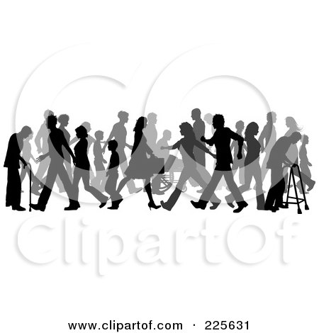 Royalty-Free (RF) Clipart Illustration of a Busy Sidewalk Scene Of Children, Adulds And Elderly Silhouettes by KJ Pargeter
