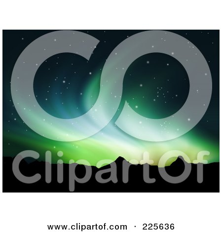 Royalty-Free (RF) Clipart Illustration of a Background Of Green Northern Lights Over Mountains In A Starry Night Sky by KJ Pargeter