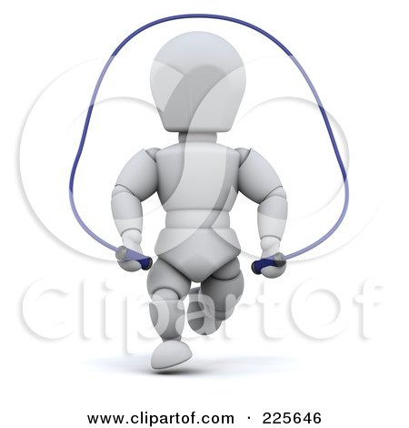 Royalty-Free (RF) Clipart Illustration of a 3d White Character Using A Jump Rope by KJ Pargeter