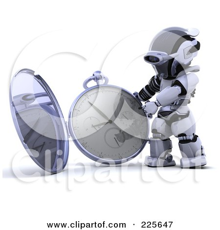 Royalty-Free (RF) Clipart Illustration of a 3d Robot Holding Up An Open Pocket Watch by KJ Pargeter
