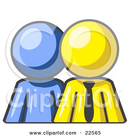Clipart Illustration of a Blue Person Standing Beside A Yellow Businessman, Symbolizing Teamwork Or Mentoring by Leo Blanchette