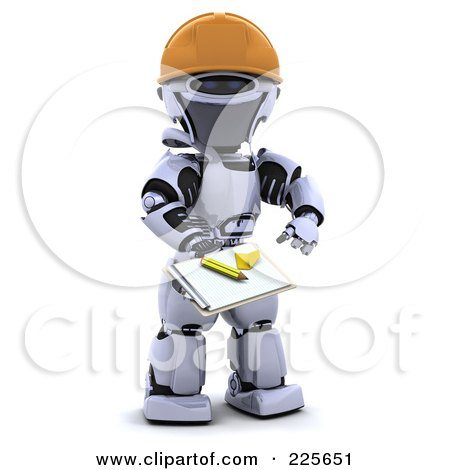 Royalty-Free (RF) Clipart Illustration of a 3d Robot Wearing A Hardhat And Holding Out A Clipboard by KJ Pargeter