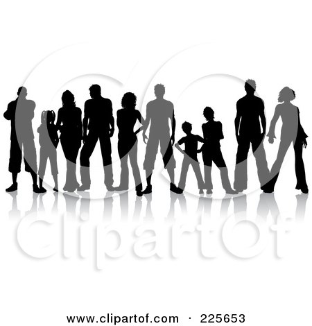 Royalty-Free (RF) Clipart Illustration of a Line Of Silhouetted Adults And Kids With Reflections by KJ Pargeter