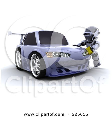 Royalty-Free (RF) Clipart Illustration of a 3d Robot Waxing A Drifter Car by KJ Pargeter