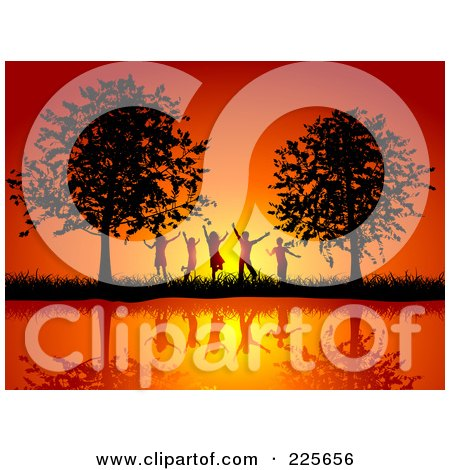 Royalty-Free (RF) Clipart Illustration of a Group Of Silhouetted Happy Children Against An Orange Sunset, Between Trees On A Waterfront by KJ Pargeter