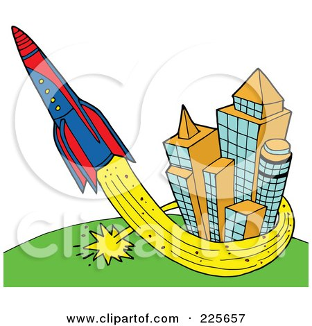 Royalty-Free (RF) Clipart Illustration of a Rocket Shooting Up And Around Skyscrapers by LaffToon