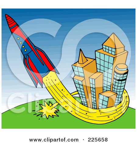 Royalty-Free (RF) Clipart Illustration of a Rocket Shooting Up And Around Buildings by LaffToon