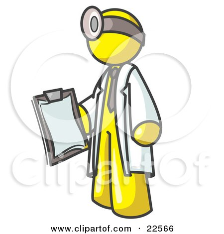 Yellow Male Doctor Holding a Clipboard And Wearing a Head Lamp Posters, Art Prints