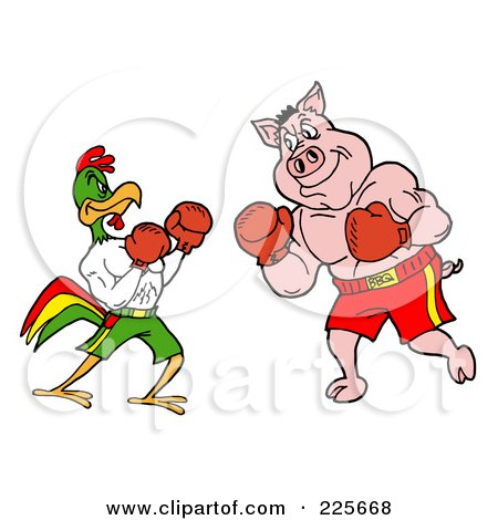 Royalty-Free (RF) Clipart Illustration of a Rooster And Pig Boxing by LaffToon