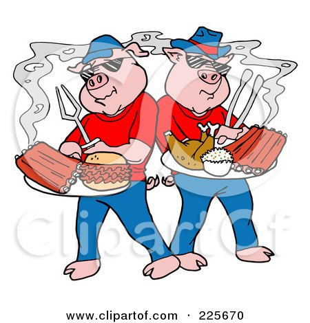 Royalty-Free (RF) Clipart Illustration of Bbq Pigs With Plates Of Ribs, Pulled Pork Burgers And Poultry by LaffToon