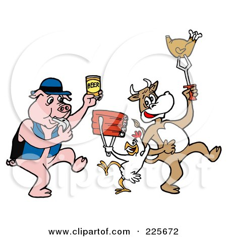 Royalty-Free (RF) Clipart Illustration of a Pig Blowing A Whistle And Holding Beer, By A Cow And Chicken Holding Up Beef And Poultry by LaffToon