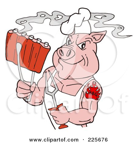 Royalty-Free (RF) Clipart Illustration of a Strong Tattooed Chef Pig Holding Steamy Ribs by LaffToon