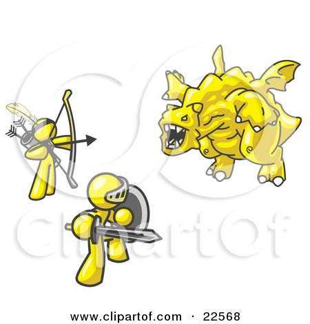 Clipart Illustration of Two Yellow Men Working Together to Conquer an Obstacle, a Dragon by Leo Blanchette