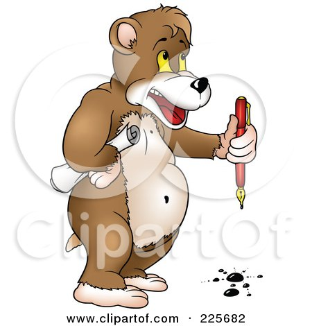 Royalty-Free (RF) Clipart Illustration of a Standing Bear Holding A Pen With Drops Of Ink by dero