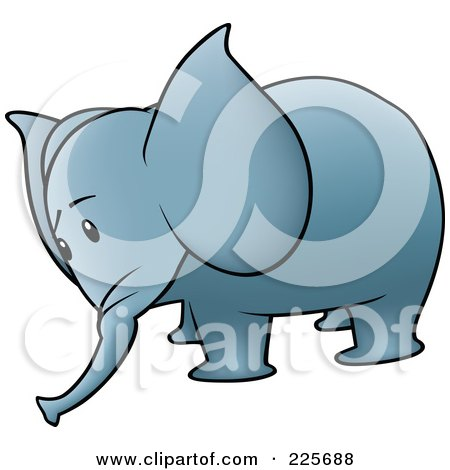 Royalty-Free (RF) Clipart Illustration of a Sad Blue Elephant by dero