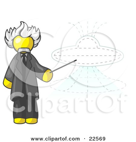 Clipart Illustration of a Yellow Einstein Man Pointing a Stick at a Presentation of a Flying Saucer by Leo Blanchette
