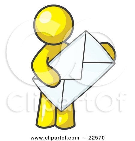 Clipart Illustration of a Yellow Person Standing And Holding A Large Envelope, Symbolizing Communications And Email by Leo Blanchette