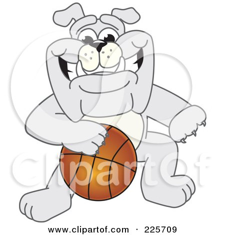 Royalty-Free (RF) Clipart Illustration of a Gray Bulldog Mascot Dribbling A Basketball by Toons4Biz