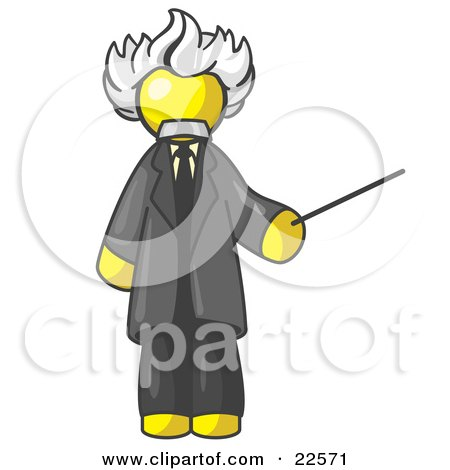 Clipart Illustration of a Yellow Man Depicted as Albert Einstein Holding a Pointer Stick by Leo Blanchette