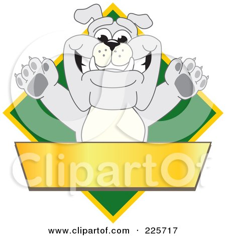 Royalty-Free (RF) Clipart Illustration of a Gray Bulldog Mascot Over A Green Diamond Above A Blank Gold Banner by Toons4Biz
