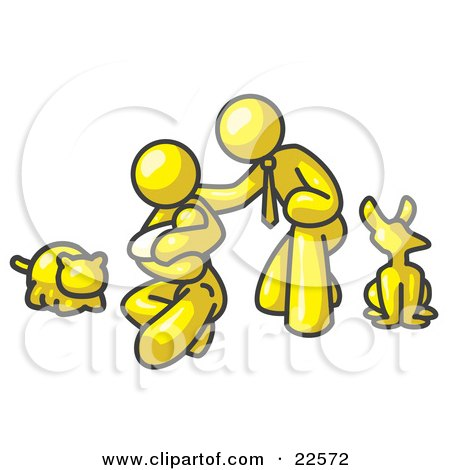 Clipart Illustration of a Yellow Family, Father, Mother And Newborn Baby With Their Dog And Cat by Leo Blanchette