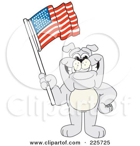 Royalty-Free (RF) Clipart Illustration of a Gray Bulldog Mascot Waving An American Flag by Toons4Biz
