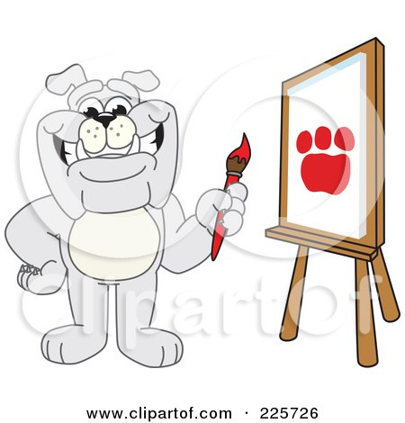Royalty-Free (RF) Clipart Illustration of a Gray Bulldog Mascot Painting A Paw Print In Art Class by Toons4Biz