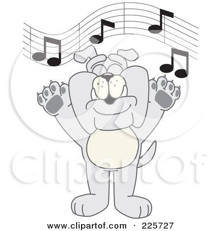 Royalty-Free (RF) Clipart Illustration of a Gray Bulldog Mascot Singing In Music Class by Toons4Biz