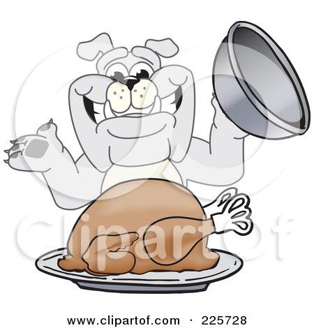 Royalty-Free (RF) Clipart Illustration of a Gray Bulldog Mascot Serving A Thanksgiving Turkey by Toons4Biz
