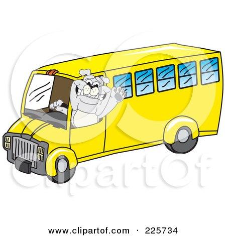 Royalty-Free (RF) Clipart Illustration of a Gray Bulldog Mascot Waving And Driving A School Bus by Toons4Biz