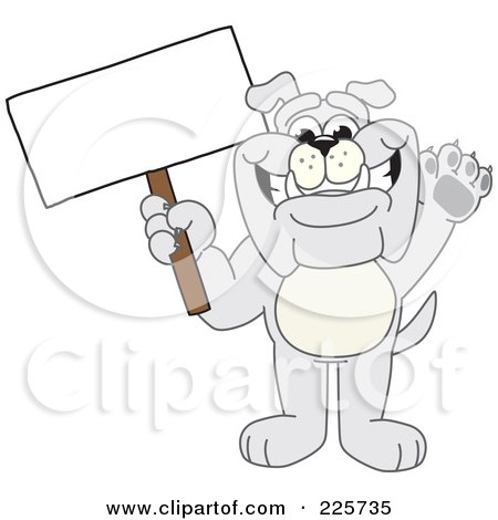 Royalty-Free (RF) Clipart Illustration of a Gray Bulldog Mascot Waving And Holding A Sign by Toons4Biz