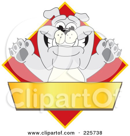 Royalty-Free (RF) Clipart Illustration of a Gray Bulldog Mascot Over A Red Diamond Above A Blank Gold Banner by Toons4Biz