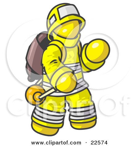 Clipart Illustration of a Yellow Fireman in a Uniform, Fighting a Fire by Leo Blanchette
