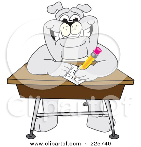 Royalty-Free (RF) Clipart Illustration of a Gray Bulldog Mascot Doing Homework At A School Desk by Toons4Biz