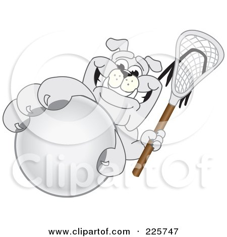 Royalty-Free (RF) Clipart Illustration of a Gray Bulldog Mascot Grabbing A Lacrosse Ball by Toons4Biz