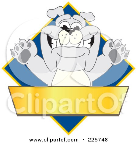 Royalty-Free (RF) Clipart Illustration of a Gray Bulldog Mascot Over A Blue Diamond Above A Blank Gold Banner by Toons4Biz