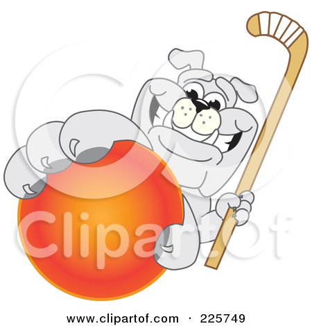 Royalty-Free (RF) Clipart Illustration of a Gray Bulldog Mascot Reaching Up And Grabbing A Field Hockey Ball by Toons4Biz