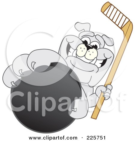 Royalty-Free (RF) Clipart Illustration of a Gray Bulldog Mascot Reaching Up And Grabbing A Hockey Puck by Toons4Biz