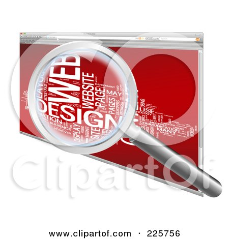 Royalty-Free (RF) Clipart Illustration of a 3d Magnifying Glass Zooming In On A Word Collage In A Red Web Browser by MacX