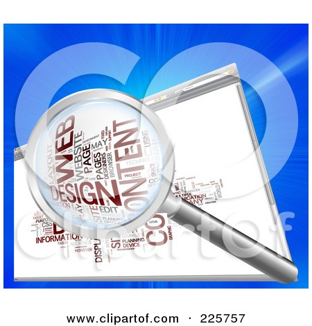 Royalty-Free (RF) Clipart Illustration of a 3d Magnifying Glass Over A Web Design Word Collage In A Web Browser by MacX
