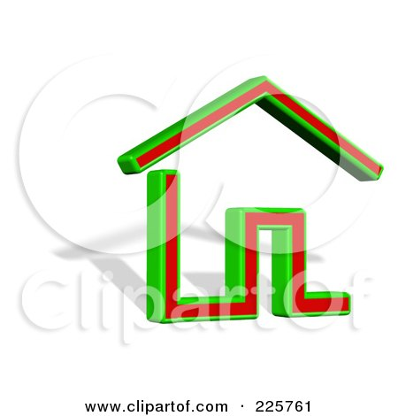Royalty-Free (RF) Clipart Illustration of a 3d Green And Red House Logo With A Shadow by MacX
