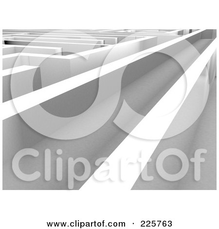 Royalty-Free (RF) Clipart Illustration of a Long Corridor Down A 3d Maze by MacX