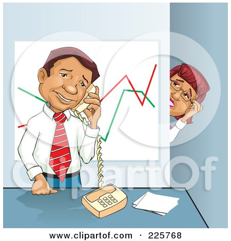 Royalty-Free (RF) Clipart Illustration of a Businesswoman Spying On Her Boss While He Talks On The Phone by David Rey